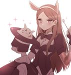 1girl animal_ears atobesakunolove blush bodysuit bow bowtie brown closed_mouth commentary d.va_(gremlin) english_commentary facial_mark fingerless_gloves forehead_mark gloves hairband hat highres holding legs_crossed long_hair looking_at_viewer magic_trick monochrome overwatch signature sparkle symmetra_(overwatch) top_hat wand white_background