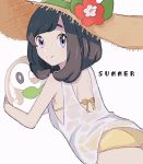1girl alternate_costume ass back bikini black_hair flat_ass flower gen_7_pokemon hat hat_flower kn_9620 looking_back lying mizuki_(pokemon) on_stomach pokemon pokemon_(game) pokemon_sm rowlet shirt short_hair simple_background smile solo sun_hat swimsuit wet wet_clothes wet_shirt white_background white_shirt yellow_bikini