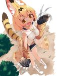 1girl :d alternate_costume blonde_hair boots bow bowtie breasts bush claw_(weapon) collarbone commentary_request detached_sleeves fang fur-trimmed_shorts highres kemono_friends looking_at_viewer makuran open_mouth serval_(kemono_friends) serval_print serval_tail short_hair short_shorts shorts smile solo tail weapon white_footwear