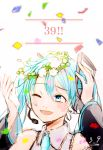 1girl 39 2018 ;d blue_eyes blue_hair commentary confetti dated detached_sleeves eyebrows_visible_through_hair flower grey_shirt hands_up happy hatsune_miku head_wreath highres looking_up necktie number one_eye_closed open_mouth shirt simple_background sleeveless sleeveless_shirt smile solo_focus twintails vocaloid white_background white_flower