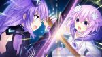 blue_eyes braid brave_neptune breasts d-pad d-pad_hair_ornament fighting game_cg hair_ornament long_hair looking_at_viewer multiple_girls neptune_(choujigen_game_neptune) neptune_(series) official_art open_mouth purple_hair purple_heart short_hair sword symbol-shaped_pupils tsunako twin_braids very_long_hair violet_eyes weapon