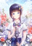 1girl aoi_ch. bangs black_hair blue blue_eyes blue_flower blue_neckwear blue_skirt blunt_bangs bow bowtie breast_pocket collared_shirt commentary_request flower flower_request fuji_aoi gomzi hair_flower hair_ornament highres long_hair looking_at_viewer microphone microphone_stand mole mole_under_eye outdoors pocket red_flower shirt short_sleeves skirt smile solo virtual_youtuber water_drop white_shirt