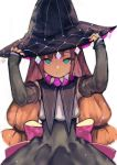 1girl back_bow black_skirt blue_eyes bow brown_hair closed_mouth commentary_request detached_sleeves hands_on_headwear hands_up hat high-waist_skirt long_hair low-tied_long_hair original pink_bow sibyl skirt sleeves_past_wrists solo witch_hat