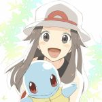 1girl :d bare_shoulders blue_(pokemon) blush brown_eyes brown_hair commentary_request gen_1_pokemon hat kanade_(10_ko_nama) looking_at_viewer no_nose open_mouth pokemon pokemon_(creature) pokemon_(game) pokemon_frlg smile solo squirtle upper_body white_hat
