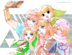 blonde_hair blue_eyes hat headband link long_hair multiple_boys pointy_ears ponytail princess_zelda red_eyes reverse_trap sheik shield short_hair shuri_(84k) smile super_smash_bros. surcoat the_legend_of_zelda the_legend_of_zelda:_a_link_between_worlds the_legend_of_zelda:_breath_of_the_wild the_legend_of_zelda:_ocarina_of_time the_legend_of_zelda:_the_wind_waker the_legend_of_zelda:_twilight_princess toon_link turban young_link