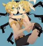 >:/ >:t 1boy 1girl aqua_eyes arm_tattoo arms_around_neck bare_arms bare_shoulders blonde_hair bow brother_and_sister cheek-to-cheek crop_top eiku flat_chest frown gun hair_bow hair_ornament hairclip highres hug kagamine_len kagamine_rin looking_at_viewer midriff neckerchief necktie number_tattoo pout puffed_cheeks sailor_collar shirt short_hair short_ponytail shorts siblings sleeveless sleeveless_shirt tattoo twins vocaloid weapon yellow_neckwear