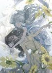 2girls brown_hair bubble closed_eyes crying crying_with_eyes_open daisy dress fins flower grey_eyes grey_hair head_hug highres kakmxxxny06 long_hair looking_at_viewer mermaid monster_girl multiple_girls original scales tears yuri