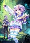 2girls blush book brave_neptune d-pad d-pad_hair_ornament hair_ornament looking_at_viewer multiple_girls neptune_(choujigen_game_neptune) neptune_(series) official_art open_mouth purple_hair short_hair smile striped thigh-highs tsunako violet_eyes