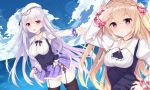 2girls absurdres azur_lane bangs beret blonde_hair blush breasts bursting_breasts cleavage clouds collarbone commentary_request crescent_(azur_lane) cygnet_(azur_lane) hair_ornament hat highres jewelry jyt large_breasts lavender_hair long_hair looking_at_viewer medium_breasts multiple_girls necklace ocean open_mouth pink_eyes remodel_(azur_lane) salute sky smile standing thigh-highs twintails vest