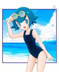1girl blue_eyes blue_hair blue_sky clouds day goggles goggles_on_head highres kouduki0213 one-piece_swimsuit open_mouth pokemon pokemon_(game) pokemon_sm short_hair sky solo suiren_(pokemon) swimsuit trial_captain water
