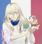 2girls alternate_costume bangs blonde_hair blue_eyes blue_hair candle commandant_teste_(kantai_collection) commentary_request cupcake food french french_flag hair_between_eyes kantai_collection long_hair mole mole_under_eye mole_under_mouth multicolored_hair multiple_girls redhead richelieu_(kantai_collection) sei_masami smile swept_bangs white_hair