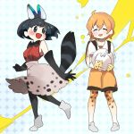 2girls adapted_costume animal_ears animal_print backpack bag bare_shoulders belt black_hair blonde_hair blush boots bucket_hat cosplay costume_switch elbow_gloves gloves hat hat_removed headwear_removed high-waist_skirt kaban_(kemono_friends) kemono_friends loafers multiple_girls no_animal_ears pantyhose serval_(kemono_friends) serval_print shirt shoes short_hair shorts skirt sleeveless smile standing standing_on_one_leg t-shirt tail thigh-highs wagiyabosa_jirou
