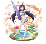 1girl :d ahoge armpits bangs barefoot bikini choker collarbone faux_figurine flat_chest floating_hair flower full_body hair_ribbon hairband hibiscus holding layered_bikini lolita_hairband long_hair looking_at_viewer navel official_art open_mouth outstretched_arm pointy_ears purple_hair red_eyes red_flower red_ribbon ribbon simple_background smile solo standing swimsuit sword_art_online sword_art_online:_code_register twintails very_long_hair white_background white_bikini yuuki_(sao)