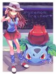 1girl bag bare_shoulders blue_(pokemon) blue_legwear blue_shirt breasts brown_eyes brown_hair closed_mouth full_body gen_1_pokemon handbag hat highres index_finger_raised ivysaur legs_apart long_hair looking_at_viewer loose_socks medium_breasts miniskirt nagatsukiariake pokemon pokemon_(creature) pokemon_(game) pokemon_frlg red_skirt shirt shoes skirt smile socks stadium standing super_smash_bros. tank_top white_footwear white_hat wristband