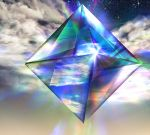 clouds higami_akabane neon_genesis_evangelion no_humans octahedron ramiel reflection shiny sky star_(sky) starry_sky tagme