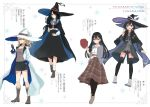 4girls :d azuuru bare_legs black_cape black_hair black_hat black_legwear black_shorts black_skirt blonde_hair blue_cape blue_eyes blush boots bracelet breasts brown_footwear brown_shirt brown_shorts brown_skirt cape character_name character_profile cigarette collarbone collared_shirt english eyebrows_visible_through_hair fran_(majo_no_tabitabi) green_eyes grey_jacket hair_between_eyes hair_over_one_eye hand_in_pocket hat hat_removed headwear_removed hexagram highres holding holding_cigarette holding_hat holding_wand jacket jewelry large_breasts long_hair long_skirt looking_at_viewer low_ponytail majo_no_tabitabi medium_breasts mina_(majo_no_tabitabi) mole mole_under_eye multicolored multicolored_cape multicolored_clothes multicolored_footwear multiple_girls neck_ribbon official_art open_mouth pantyhose parted_lips plaid plaid_skirt ponytail print_cape purple_cape purple_footwear red_hat red_neckwear red_ribbon ribbon saya_(majo_no_tabitabi) sheila_(majo_no_tabitabi) shirt short_hair shorts skirt smile socks sparkle_background thigh-highs translation_request v wand white_cape white_footwear white_hat white_shirt witch_hat