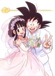1boy 1girl :d bare_shoulders black_eyes black_hair bouquet bow bowtie chi-chi_(dragon_ball) commentary_request couple dragon_ball dragon_ball_(classic) dress elbow_gloves eyelashes fingernails flower flying_nimbus formal gloves happy hetero highres holding image_sample jewelry looking_at_viewer necklace open_mouth pearl_necklace pink_dress pink_flower purple_flower rose short_hair simple_background sleeveless sleeveless_dress smile son_gokuu spiky_hair suit tied_hair tkgsize twitter_sample v veil wedding_dress white_background white_flower white_rose white_suit