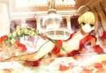 1girl absurdres ahoge anklet architecture bangs barefoot blonde_hair braid center_opening closed_mouth column fate/extra fate_(series) flat_chest flower fountain full_body green_eyes hair_flower hair_ornament highres holding huge_filesize jewelry legs looking_at_viewer lying navel nero_claudius_(fate) nero_claudius_(fate)_(all) official_art on_side open_clothes petals pillar scan solo wada_aruko water