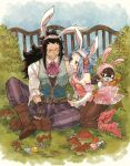 1boy 1girl animal_ears black_gloves black_hair black_legwear blue_sky boots bow bowtie breasts brown_eyes brown_footwear bunny_tail bunnysuit cleavage day detached_sleeves easter easter_egg egg eye_contact fairy_tail fake_animal_ears fingerless_gloves gajeel_redfox gloves grin hairband hand_on_another's_shoulder high_heel_boots high_heels holding leotard levy_mcgarden long_hair looking_at_another mushroom nail_polish outdoors pantherlily pants pantyhose pink_bow pink_leotard pink_nails pink_neckwear purple_pants rabbit_ears red_footwear rusky see-through sitting sky small_breasts smile striped striped_bow striped_leotard striped_neckwear tail vertical_stripes very_long_hair white_hairband