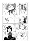 2girls animal_ears cat_ears chen chinese_clothes comic earrings food fruit greyscale hat jewelry long_sleeves mob_cap monochrome multiple_girls nihimaru page_number short_hair touhou translation_request watermelon
