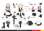 1girl apron assault_rifle bangs black_footwear blonde_hair blue_eyes blush boots braid breasts character_name closed_mouth corset cropped_jacket dress eyebrows_visible_through_hair g36 g36_(girls_frontline) german_flag girls_frontline gloves gradient_hair gun hair_between_eyes hair_ornament hand_on_hip highres knee_boots leg_garter long_hair looking_at_viewer maid maid_apron maid_headdress medium_breasts multicolored_hair multiple_views neck_ribbon pouch puffy_short_sleeves puffy_sleeves red_ribbon ribbon rifle short_sleeves shuzi sidelocks simple_background single_braid sleeveless_jacket solo thighs tsurime very_long_hair weapon white_gloves