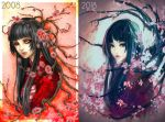 2girls bangs black_eyes blue_hair blunt_bangs branch cherry_blossoms dated japanese_clothes kimono long_hair looking_at_viewer multiple_girls original progress red_eyes red_kimono upper_body watermark web_address wenqing_yan