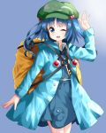 1girl ;) alternate_costume backpack bag bangs blue_dress blue_eyes blue_hair blue_shirt coat collared_shirt commentary commentary_request cowboy_shot dress eyebrows_visible_through_hair flat_cap green_hat hair_bobbles hair_ornament hand_up hat highres kawashiro_nitori key long_sleeves looking_at_viewer medium_hair one_eye_closed open_mouth pocket pouch puffy_sleeves ruu_(tksymkw) shirt short_twintails sidelocks simple_background skirt skirt_set smile solo standing strap thighs touhou twintails two_side_up undershirt