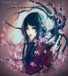 1girl absurdres black_eyes blue_hair branch cherry_blossoms highres japanese_clothes kimono looking_at_viewer original red_kimono solo upper_body watermark web_address wenqing_yan