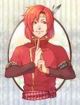 1boy artist_name cheine feathers fire_emblem fire_emblem:_monshou_no_nazo flower headband jandara_rin male_focus red_eyes redhead solo