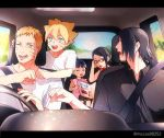 2girls 3boys black_hair blonde_hair blue_eyes boruto:_naruto_next_generations car car_interior closed_eyes driving family father_and_daughter glasses ground_vehicle motor_vehicle multiple_boys multiple_girls naruto nonko_(mccss00252) one_eye_closed red-framed_eyewear short_hair twitter_username uchiha_sarada uchiha_sasuke uzumaki_boruto uzumaki_himawari uzumaki_naruto whisker_markings