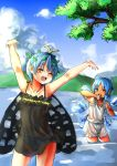 2girls antennae arms_up bangs bloomers blue_bow blue_eyes blue_hair blue_sky bow butterfly_wings cirno closed_eyes clouds eternity_larva hair_bow highres ice ice_wings kourou_(kouroukun) looking_at_another mountain multiple_girls one_eye_closed panties see-through short_hair sky tanned_cirno touhou underwear wading wet wings