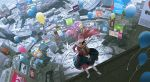 1girl alternate_costume america balloon banner bear blurry city cityscape closed_eyes darling_in_the_franxx depth_of_field detached_sleeves dress dutch_angle from_above instrument music oni_horns pink_hair playing_instrument red_horns samsung_electronics sawana scenery sign sleeveless sleeveless_dress violin zero_two_(darling_in_the_franxx)