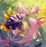 1girl :d air_bubble animal axolotl bare_legs barefoot blonde_hair bubble commentary_request coral floating_hair highres lee_hyeseung open_mouth original oversized_animal purple_skirt seaweed shirt short_sleeves skirt smile solo swimming underwater violet_eyes white_shirt