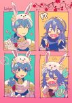 1boy 1girl animal_ears blue_eyes blue_hair blush bow bowtie bunny_girl bunny_tail bunnysuit chibi detached_collar fake_animal_ears fire_emblem fire_emblem:_kakusei fire_emblem:_monshou_no_nazo formal gloves groom highres kiriya_(552260) long_hair lucina marth rabbit_ears short_hair smile suit tail tiara