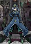 2b-ge absurdres alternate_costume blue_eyes blue_hair commentary_request highres kawashiro_nitori looking_at_viewer military_jacket short_hair touhou