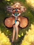 1girl absurdres blonde_hair blue_eyes breasts dress elf grass highres kibellin long_hair looking_at_viewer lying on_back original outdoors pointy_ears ribbon smile solo sword weapon