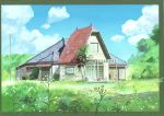 absurdres anchoku_0621 blue_sky calligraphy_brush_(medium) clouds cloudy_sky commentary_request flower grass highres house no_humans palm_tree power_lines sky telephone_pole tonari_no_totoro tree