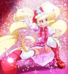 1girl aisaki_emiru bangs blonde_hair blunt_bangs boots closed_mouth cure_macherie eyebrows_visible_through_hair gloves haruyama_kazunori hugtto!_precure lips long_hair looking_away looking_to_the_side magical_girl pink_gloves precure red_eyes red_footwear smile solo sparkle thigh-highs twintails very_long_hair white_legwear