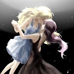 black_background black_dress blonde_hair blue_dress brown_hair closed_eyes dancing dress hand_holding neo_(rwby) pink_hair rwby tl yang_xiao_long yuri