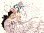 1boy 1girl blue_hair bouquet brown_eyes detached_sleeves dress ear_piercing fairy_tail flower formal gajeel_redfox grey_jacket grin hair_flower hair_ornament hand_on_another's_back hand_on_another's_shoulder holding holding_bouquet holding_person jacket layered_dress levy_mcgarden long_hair looking_at_viewer nail_polish nose_piercing petals piercing pink_flower pink_nails pink_rose ponytail ribbon rose rusky see-through signature simple_background sleeveless sleeveless_dress smile wedding_dress white_background white_ribbon