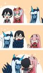 /\/\/\ 001_(darling_in_the_franxx) 1boy 2girls 3koma :t bangs black_hair blank_eyes blue_eyes blue_horns blue_skin blush_stickers closed_eyes comic commentary commentary_request couple darling_in_the_franxx eyebrows_visible_through_hair facial_scar flower fringe green_eyes hair_flower hair_ornament hairband hand_on_another's_face hand_on_another's_shoulder heart heater hetero highres hiro_(darling_in_the_franxx) horns hug jealous light_blue_hair long_hair long_sleeves looking_at_another mato_(mozu_hayanie)_(style) military military_uniform multiple_girls musical_note necktie netorare oni_horns orange_neckwear parody pink_hair pout red_horns red_neckwear scar short_hair silent_comic spoilers spoken_musical_note style_parody sweat tentacle uniform user_cvct8874 white_hairband zero_two_(darling_in_the_franxx)