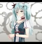 1girl blue_eyes blue_hair blush choker collarbone crying crying_with_eyes_open eyebrows_visible_through_hair hair_ornament hatsune_miku ka1se1 karakuri_pierrot_(vocaloid) looking_at_viewer parted_lips purple_ribbon ribbon short_sleeves solo tears twintails upper_body vocaloid wrist_ribbon