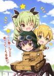 3girls anchovy black_hair blonde_hair braid brown_eyes carpaccio carro_veloce_cv-33 chibi clouds day girls_und_panzer green_eyes green_hair ground_vehicle long_hair military military_vehicle motor_vehicle multiple_girls one_eye_closed pepperoni_(girls_und_panzer) saz_(sazin764) sky smile star tank translation_request twintails