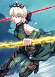 1girl artoria_pendragon_(all) artoria_pendragon_(swimsuit_rider_alter) bangs bare_shoulders belt black_bow blonde_hair blue_background bow braid breasts cosplay elbow_gloves fal fate/grand_order fate/zero fate_(series) french_braid gae_buidhe gae_dearg gloves green_gloves green_pants grin hair_bow highres jewelry lancer_(fate/zero) lancer_(fate/zero)_(cosplay) medium_breasts necklace pants polearm saber_alter smile spear tiara weapon yellow_eyes