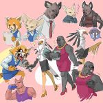 2boys 5girls aggressive_retsuko bird black_skirt blue_skirt blush bottle cellphone chenpn clenched_hand closed_eyes dress drinking eagle earrings elephant fennec_fox fenneko folder gori_(aggretsuko) gorilla haida high_heels holding holding_microphone hyena jacket jewelry kangaroo kicking laughing leather leather_jacket looking_at_another microphone motion_blur multiple_boys multiple_girls multiple_views necklace necktie office_lady papers pencil_skirt phone pink_background pink_dress pink_footwear red_neckwear red_panda retsuko shachou_(aggretsuko) shirt sketch skirt smartphone sparkle speech_bubble striped striped_shirt tongue tongue_out washimi water_bottle yoga_instructor