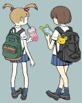 2girls backpack bag bag_charm bangs blonde_hair blunt_bangs brown_hair cellphone charm_(object) collared_shirt cup drinking drinking_glass drinking_straw eyelashes facing_away holding holding_drinking_glass legs_crossed multiple_girls original phone pigeon-toed pleated_skirt product_placement shirimoto shirt short_hair simple_background skirt sleeves_rolled_up socks sprinkles texting twintails whipped_cream