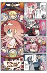3girls 4koma 6+boys aqua_eyes artist_name beard bodysuit bright_pupils closed_eyes comic copyright_name darling_in_the_franxx dr._franxx dress facial_hair genderswap genderswap_(ftm) gloves grin hachi_(darling_in_the_franxx) hairband hiro_(darling_in_the_franxx) horned_headwear jacket_on_shoulders long_hair mato_(mozu_hayanie) military military_uniform multiple_boys multiple_girls nine_alpha_(darling_in_the_franxx) nine_beta nine_delta nine_epsilon nine_gamma nine_zeta old_man pilot_suit smile strelizia_(flower) translation_request uniform wall_slam white_dress white_gloves yaoi zero_two_(darling_in_the_franxx)