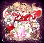 4girls :d animal_ears black_choker blonde_hair blush boots breasts brown_footwear brown_hair candy candy_cane character_request chino_machiko choker cleavage closed_eyes closed_mouth fingernails food fur_trim gift high_heel_boots high_heels hug hug_from_behind jewelry kneeling legs_together merry_christmas multiple_girls nail_polish necklace open_mouth pants red_nails red_pants sack shoes show_by_rock!! smile tail thigh-highs violet_eyes yellow_neckwear
