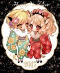2017 2girls animal_ears big_hair blonde_hair blush brown_hair character_request chino_machiko floral_print fur_collar green_kimono happy_new_year heart holding_hand japanese_clothes kimono long_sleeves multiple_girls new_year obi parted_lips platform_footwear red_eyes red_kimono sandals sash show_by_rock!! sleeves_past_wrists socks tail tears white_legwear wide_sleeves yellow_eyes yuri