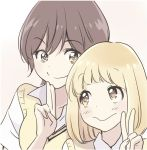 2girls :> asagao_to_kase-san blonde_hair bob_cut brown_hair close-up closed_mouth face kase_tomoka multiple_girls official_art school_uniform short_hair smile sweater_vest takashima_hiromi v yamada_yui yellow_eyes